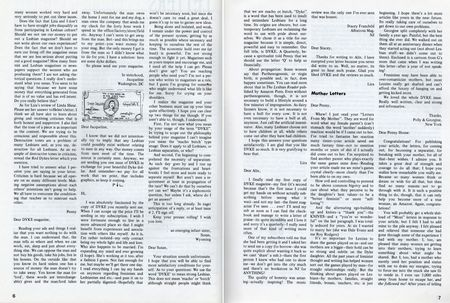 Dyke a quarterly no 3 1976 pp 6,7 letters to editor