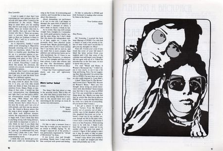 Dyke a quarterly no 3 pp 10,11 letters to editor, illustration by Tee Corinne