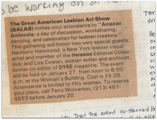 Amazon Ambrosia, Great American Lesbian Art Show, Liza Cowan, Harmony Hammond, Terry Wolverton, The Women's building, 1980
