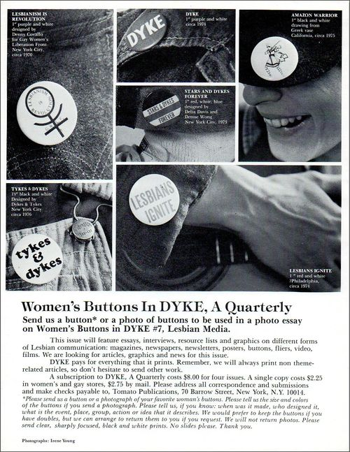 Xx DYKE A QUARTERLY flier womens buttons photo irene young