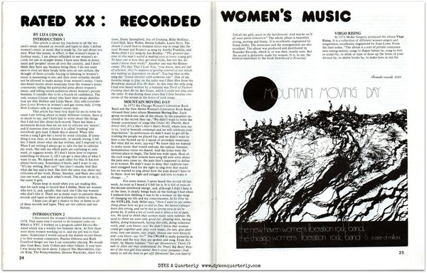 Dyke a quarterly, No 2,  rated xx, recorded women's music, rounder records, mountain moving day, virgo rising
