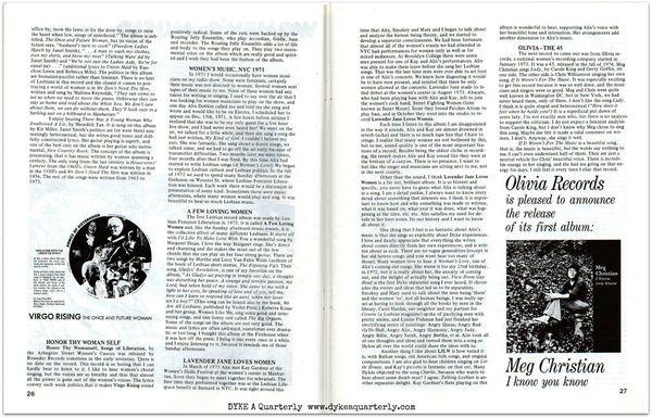 Dyke a quarterly rated xx recorded women's music alix dobkin liza cowan p.26