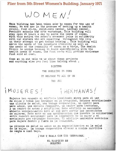 5the street womens building flier 1971 Mujeres this building has been taken over by women
