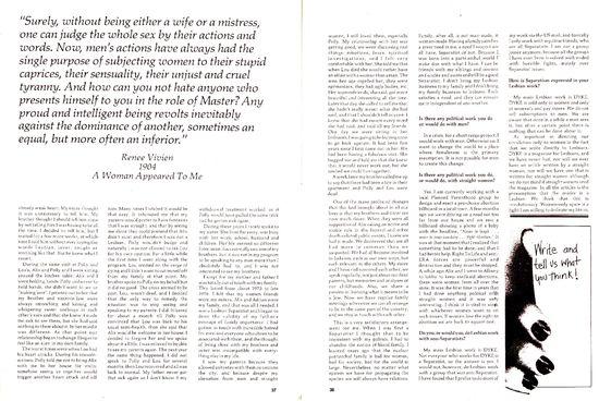 Dyke a quarterly, Separatist Symposium, 1978 pp 37 38