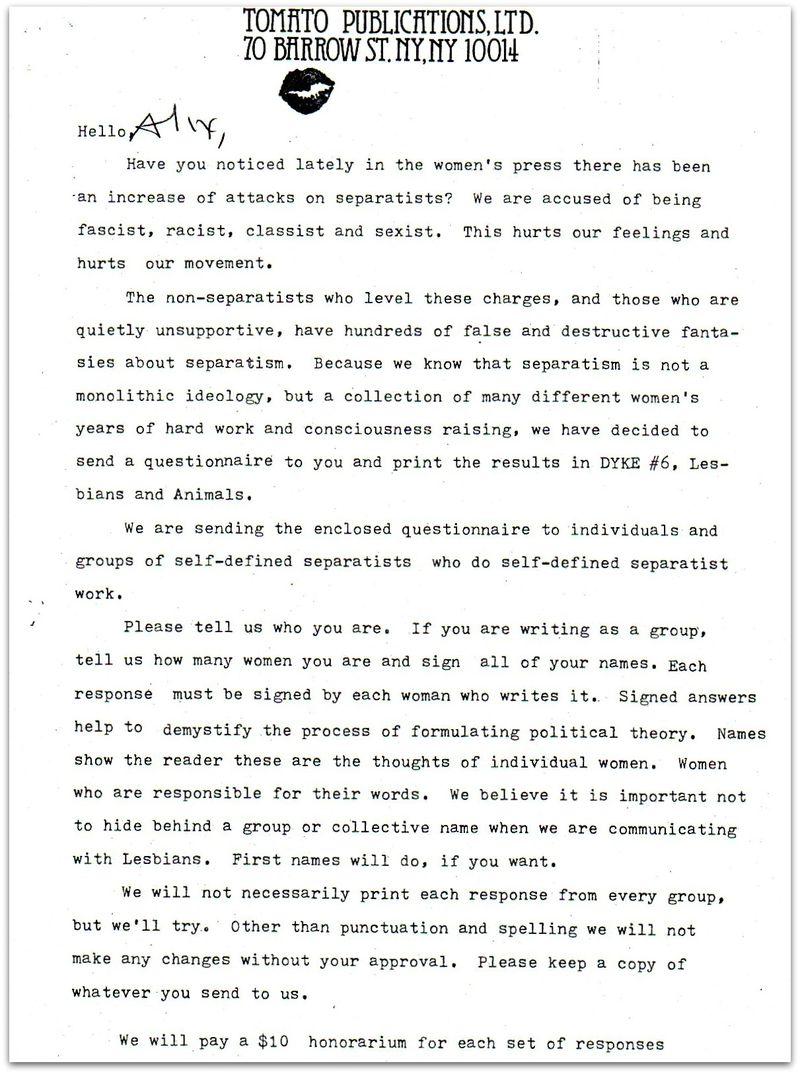 Cover letter for separatist symposium dyke a quarterly 1977 for Lush cover letter examples
