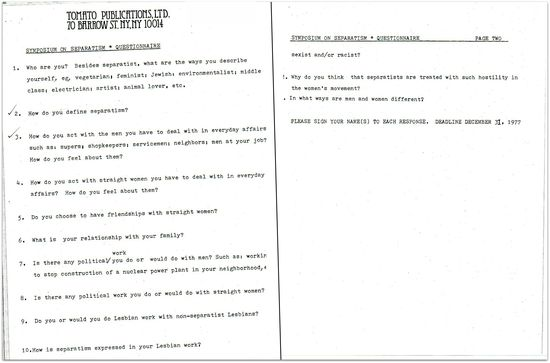 Separatist questionnaire dyke a quarterly original questions  1977