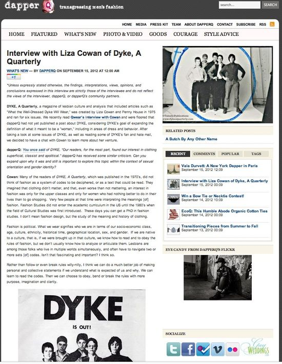 DapperQ » Blog Archive » Interview with Liza Cowan of Dyke, A Quarterly