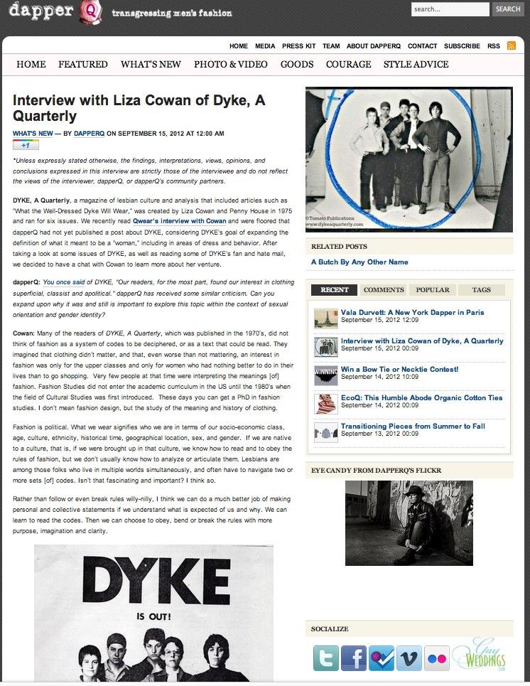DapperQ » Blog Archive » Interview with Liza Cowan of Dyke, A Quarterly