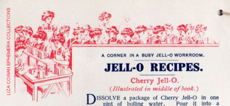 Jello recipe book, a corner in a busy jello workroom
