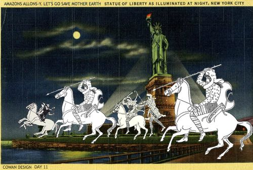 AMAZONS ALLONS Y STATUE OF LIBERTY AT NIGHT Liza Cowan CowanDesign