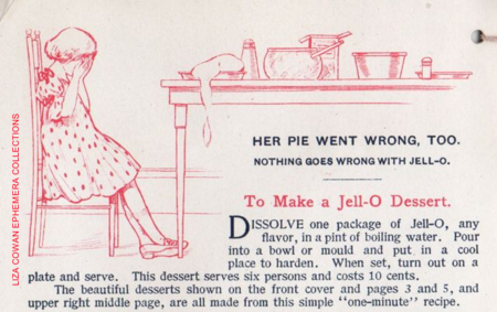 Jello recipe book, her pie went wrong