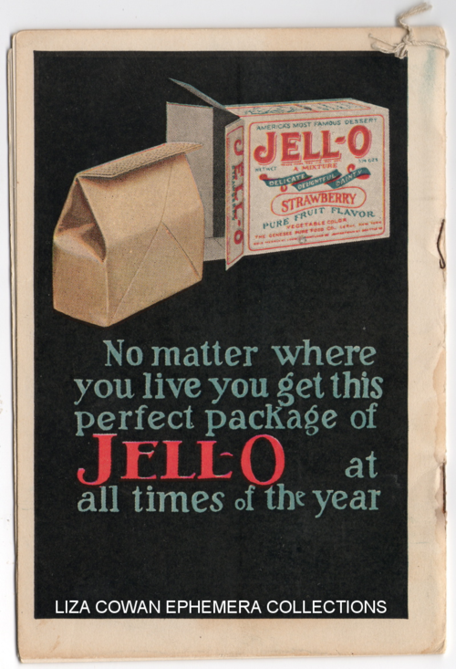 lucille patterson marsh, jello 1924, back cover, liza cowan ephemera collections
