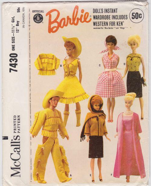 Barbie butterick pattern 7430 barbie McCalls 7430 western