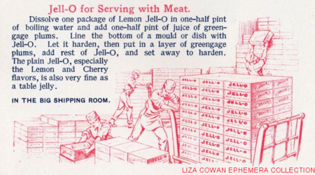Jello recipe book, jello for serving with meat, in the big shipping room, jello illustration, men pushing carts of boxes, workmen in factory early 20th century