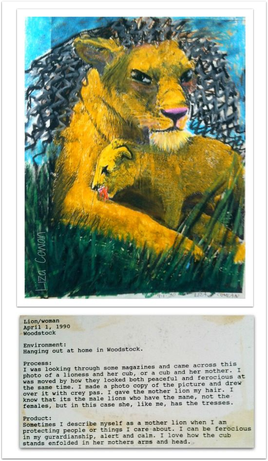 Guardian mama lion and cub, liza cowan and notes