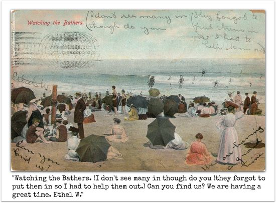 Watching the bathers post card. Late 19th, early 20th Century.
