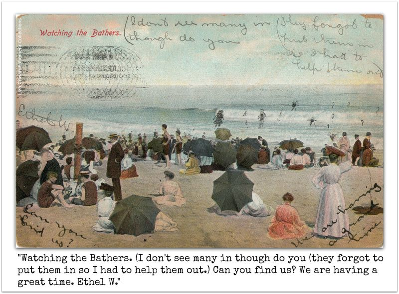 Watching the bathers post card with text in frame