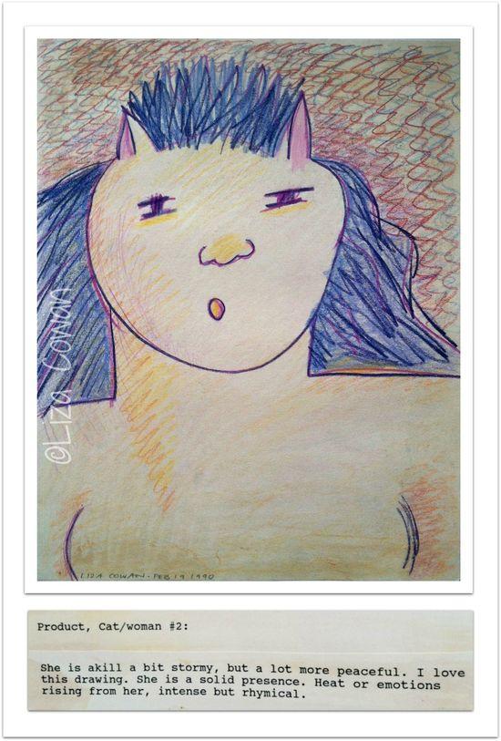 Guardian cat woman #2 and note ©Liza Cowan 1990