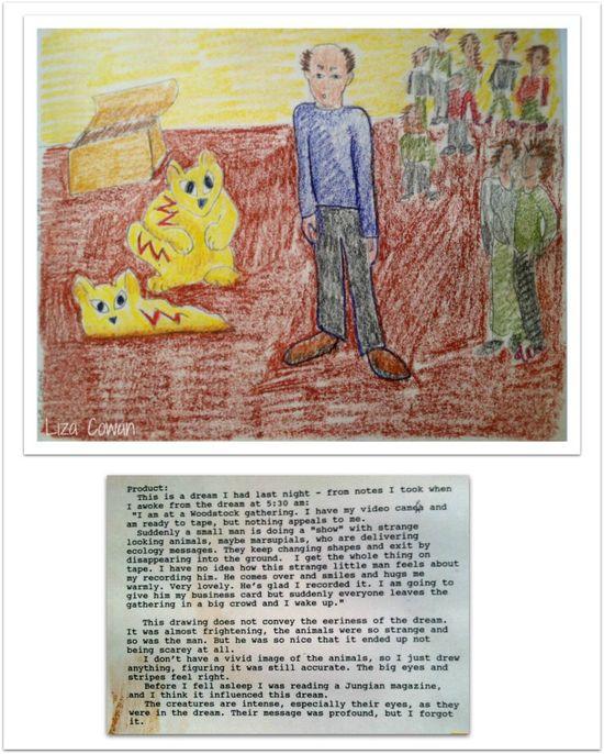 Liza cowan dream drawing man and marsupials