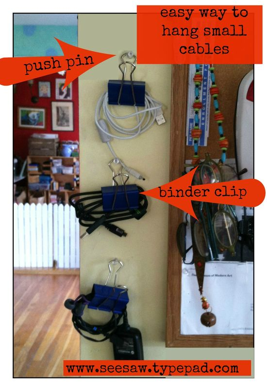Easy way to hang small cables and chargers with binder clips