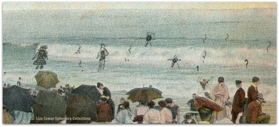 Watching the bathers  drawn in bathers