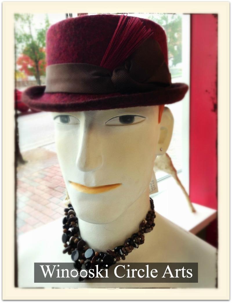 Hat by Swan&Stone Millinery at Winooski Circle Arts. Photo ©Liza cowan