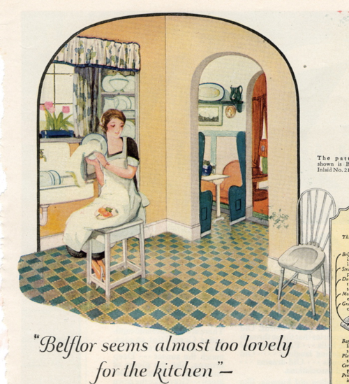 Kitchen, nairn linoleum 1925 liza cowan ephemera collections