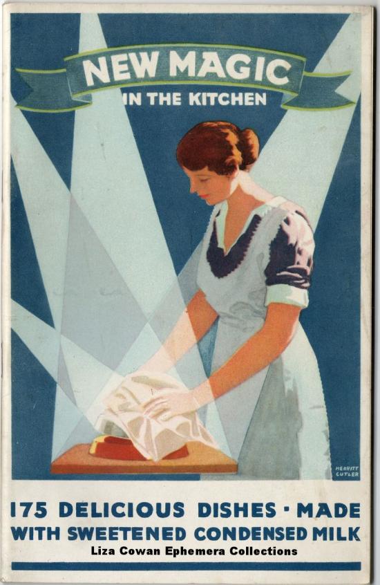 Borden's Sweetened Condensed Milk, Merrit Cutler, advertising pamphlet, food illustration,