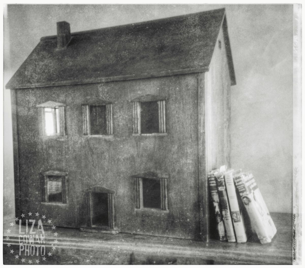 Wooden dollhouse, black and white,  liza cowan photo