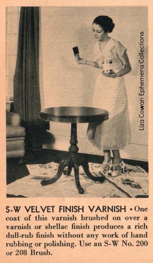 Sherwin Williams, 1934, S-W velvet finish varnish woman varnish table