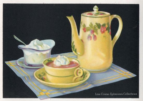 hot chocolate merritt cutler illustration whipped cream yellow pitcher