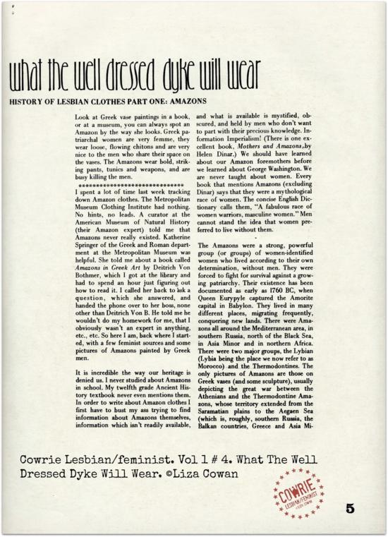 COWRIE MAGAZINE VOL 1 #4 WHAT THE WELL DRESSED DYKE WILL WEAR ©LIZA COWAN 1973