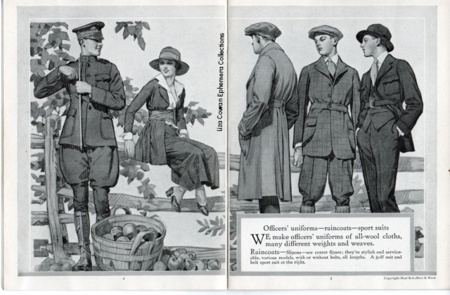 5 hart shaffner marx style book for men, 1917, military uniforms world war one, man in jodphurs, men in plus four, woman sitting on fence, elegant men, woman in spats, Liza Cowan Ephemera Collections