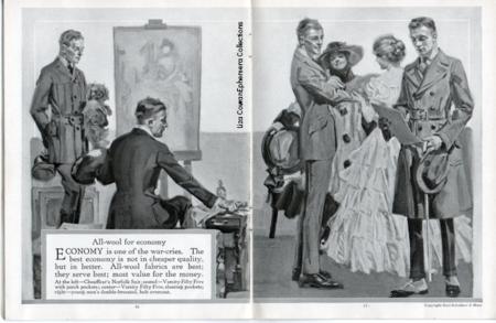 hart schaffner marx style book, elegant men 1917, man in trench coat, men in spats Liza Cowan Ephemera Collections