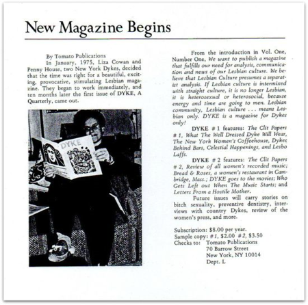 flier for DYKE, A Quarterly. 1975. New Magazine Begins