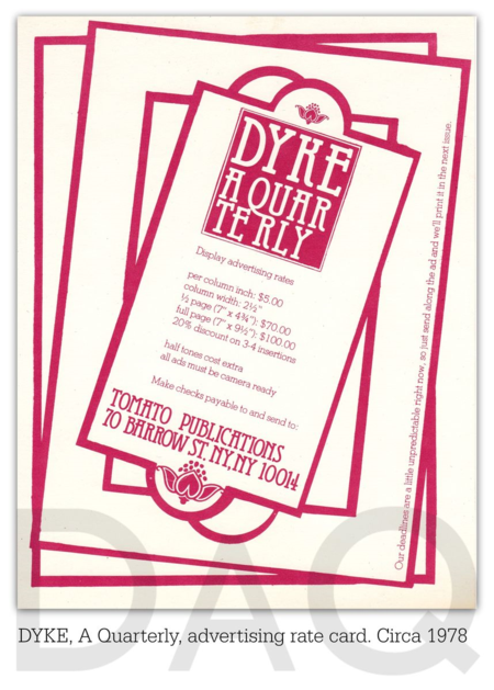 DYKE A Quarterly advertising rate card circa 1978