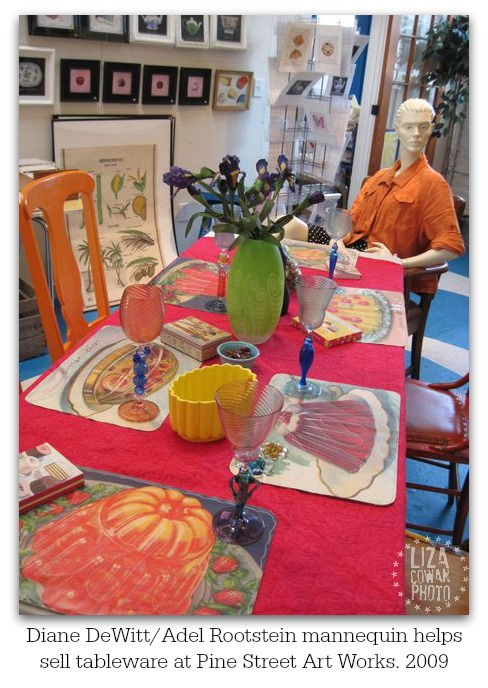 Diane dewitt adel rootstein mannequin helps sell tableware at pine street art works. glass by AO! Glass, placemats by Small Equals. photo ©liza cowan