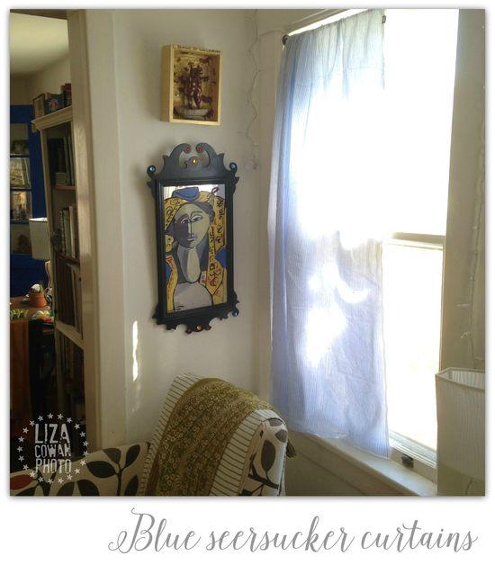 Blue seersucker curtains. Painting on mirror by Liza Picasso aka Liza Cowan. Photo ©Liza Cowan 2015