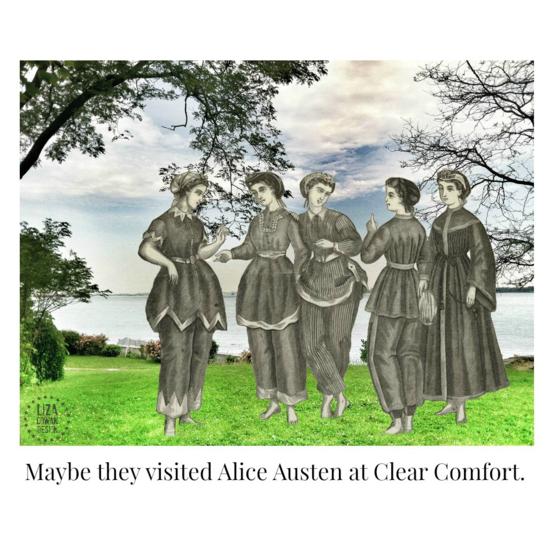 Digital composition by Liza Cowan. Alice Austen, Clear Comfort, Staten Island, vintage ladies bathing suits, bathing costumes