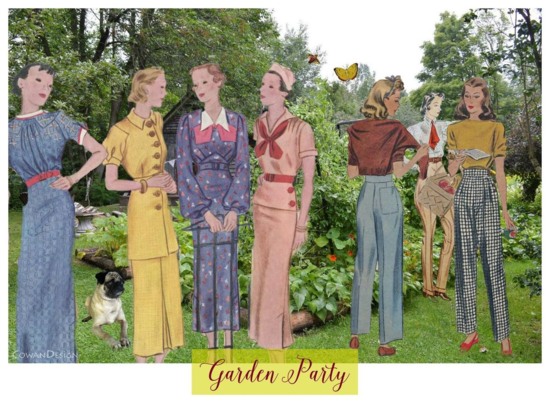 Liza Cowandigital collage. garden party. vintage sewing pattern. 1940's ladies slacks.