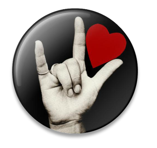 "American Sign Language button pinback button sign ""I love You"" from Smallequals.com"