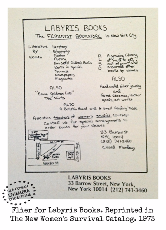 Flier for Labyris Books new york city from The New Women's Survival Catalog 1973 liza cowan ephemera collections