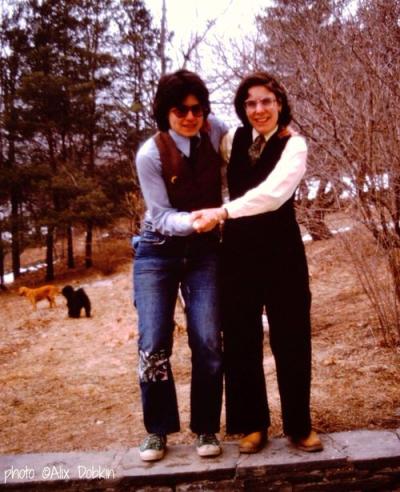 Liza Cowan and Penny House circa 1975 photo by Alix Dobkinjpg
