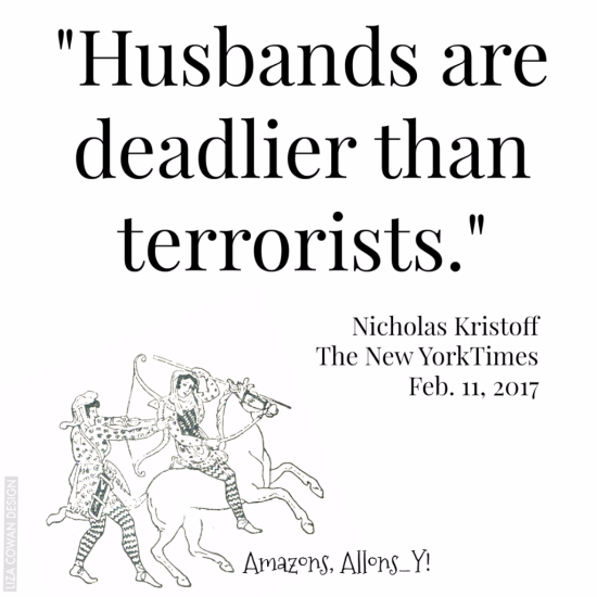 """husbands are deadlier than terrorists"" Nicholas Kristoff The New York Times,  Feb 11 2017"