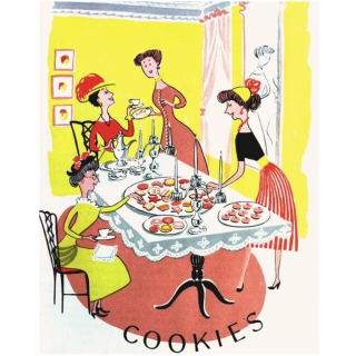 1952 cookbook, ladies tea party, cookies, vintage tea party