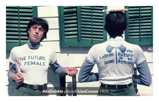 The future is female t-shirt labyris books worn by alix dobkin photo by liza cowan 1975