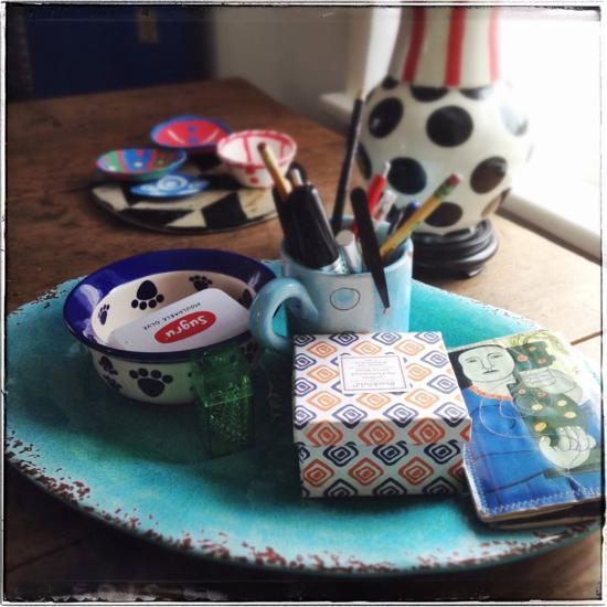 Tray platter on dining table desk