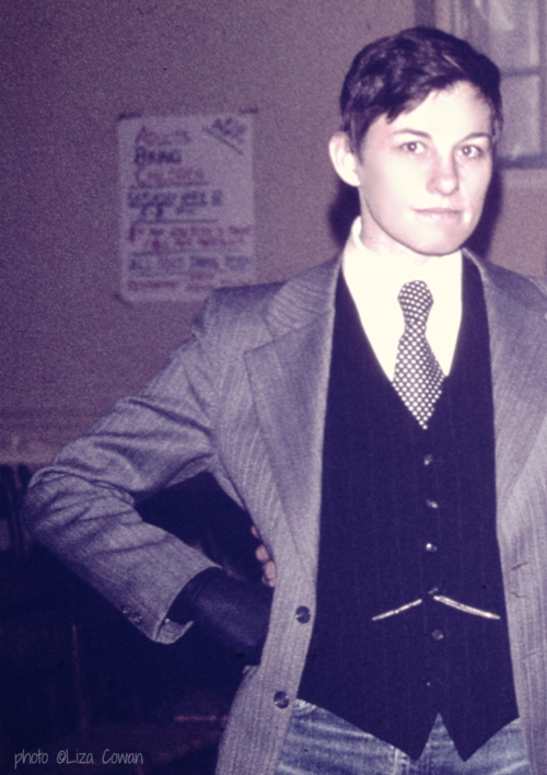 Val, wearing vest, tie and jacket. Going to a dance. Photo ©Liza Cowan
