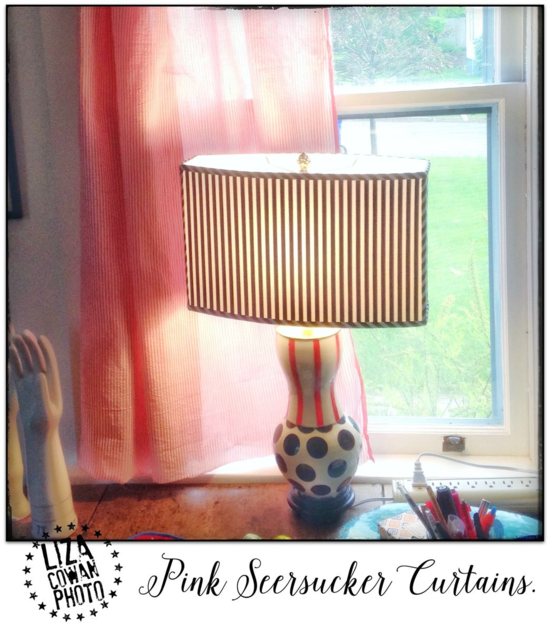 Pink Seersucker Curtains. Lamp by Kileh Friedman. photo © Liza cowan photo