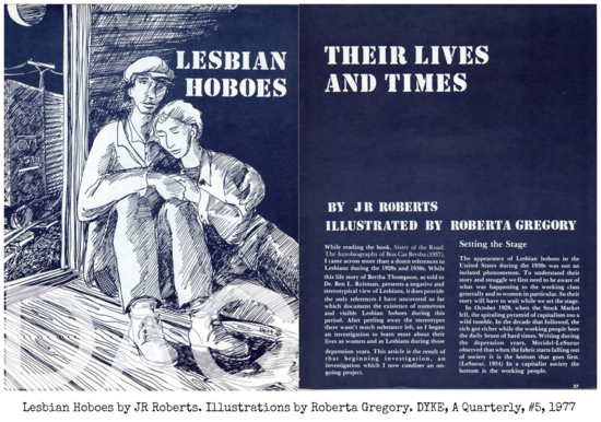 DAQ Lesbian Hoboes, JR Roberts, illustrations by Roberta Gregory ©Tomato Publications 1977, DYKE A  Quarterly